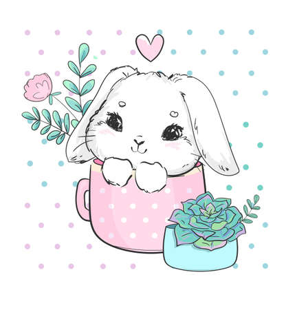 Hand drawn cute bunny with cup and succulent and leaves print design rabbit children print on t-shirt vector Illusztráció