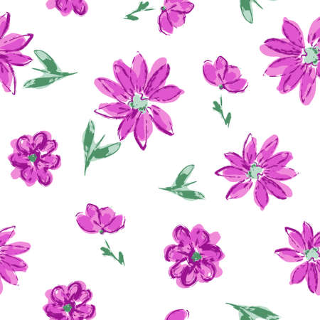 Flowers background print for textile drawn small flowers beautiful for the fabric design ornament pattern seamless vector Illusztráció