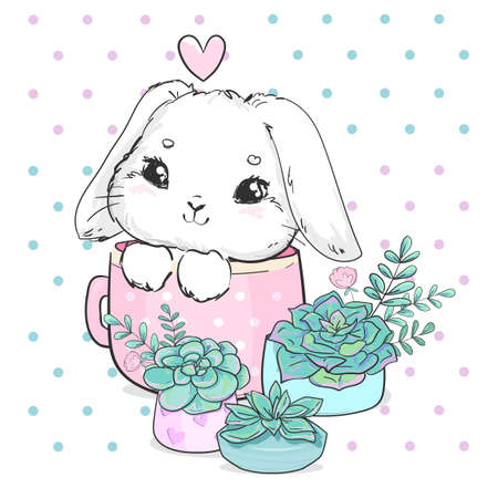 Hand drawn cute bunny with cup and succulent vector illustration Illusztráció