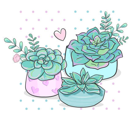 Hand Drawn succulent and leaves vector illustration