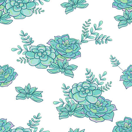 Seamless pattern hand drawn succulent and leaves vector illustration floral background print design for textiles fashion print summer spring Illusztráció