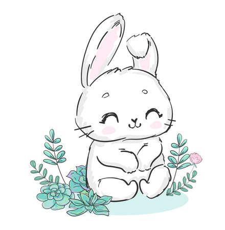 Cute hand drawn bunny with flowers print for children s textiles poster design nursery fluffy rabbit vector illustration stock Illusztráció