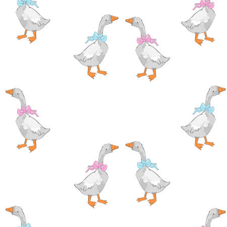 Seamless pattern hand drawn cute goose vector illustration Illusztráció