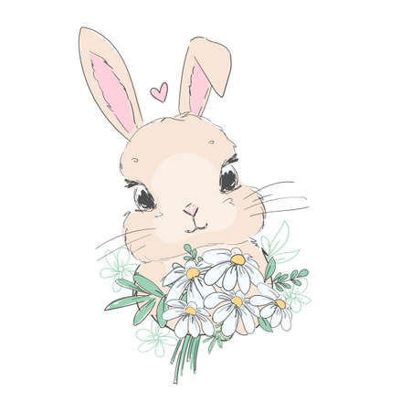 Hand drawn cute bunny and flower arrangement vector illustration rabbit childish print design Illusztráció