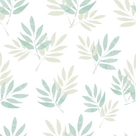Seamless pattern branches with leaves. Design Beautiful print with leaves for textile.
