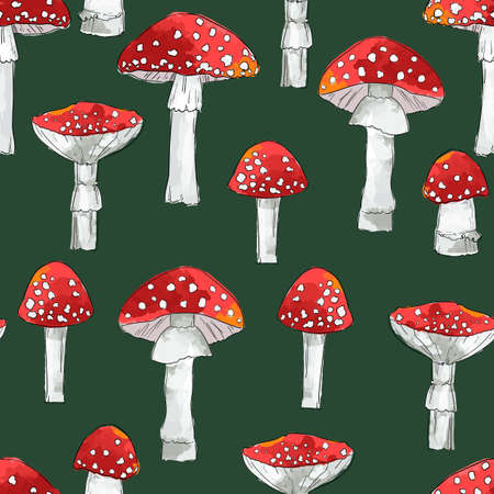 Hand drawn seamless pattern amanita mushrooms vector illustration Illusztráció