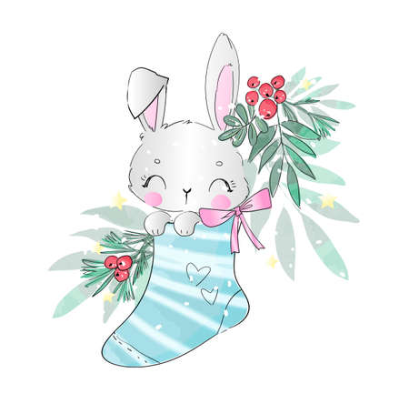 cute rabbit in christmas sock vector illustration Illusztráció