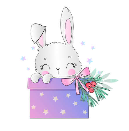 Hand drawn bunny and gift box christmas greeting card vector illustration
