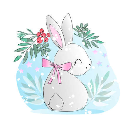 Hand drawn cute rabbit with rowan and leaves vector illustration