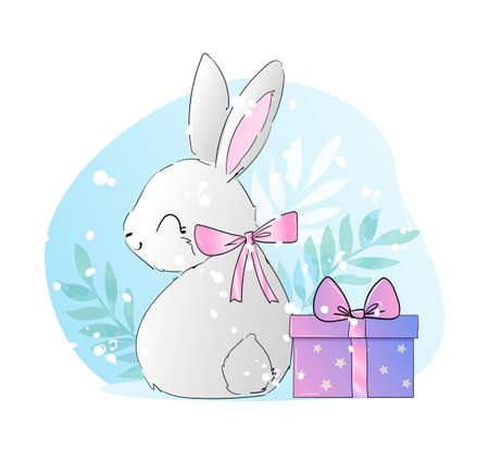 Hand drawn cute rabbit vector and a gift with a bow litlle bunny