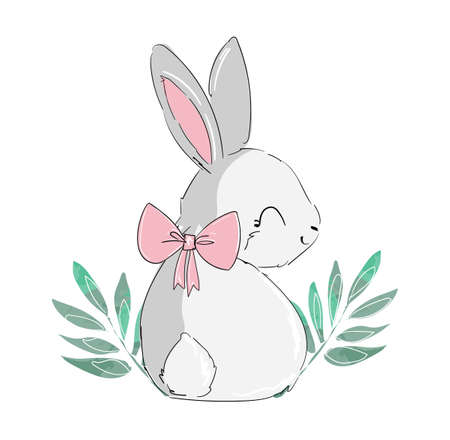 Cute fun rabbit with bow and leaves vector illustration