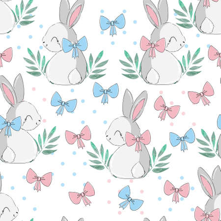 Seamless pattern rabbit and pink and blue bow bunny print design background vector textile for kids fashion Illusztráció