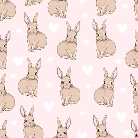 Cute rabbits and heart background vector seamless pattern