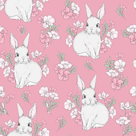 Cute rabbits and flower arrangement background vector seamless pattern Illusztráció
