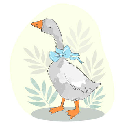 Hand drawn cute goose and blue bow background vector illustration