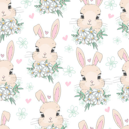 seamless pattern cute bunny and chamomile flower arrangement vector illustration rabbit childish print design Illusztráció