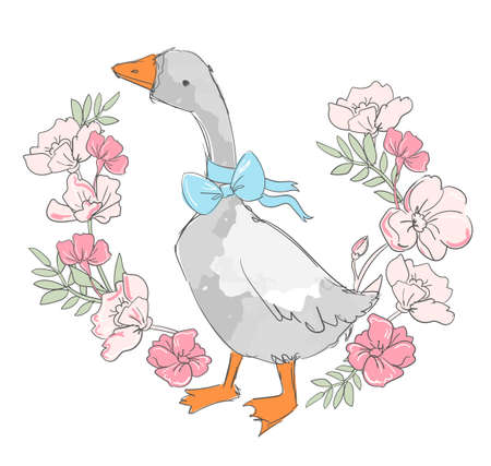 Hand drawn cute goose and blue bow and flowers background vector illustration floral frame Illusztráció