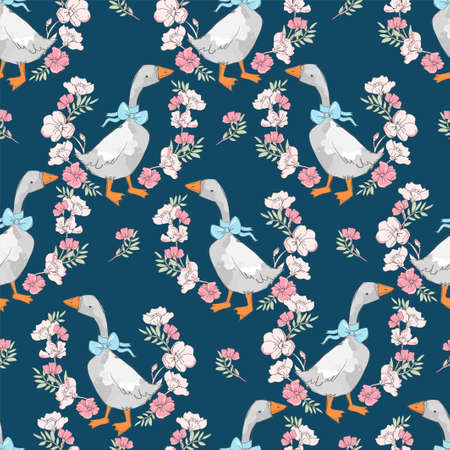 Seamless pattern hand drawn cute goose and flowers vector Print design for textiles