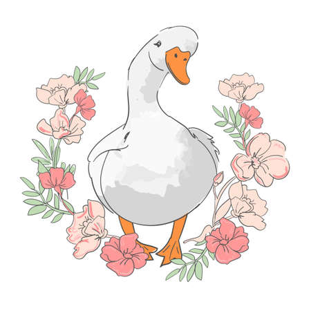 Hand drawn cute goose and flowers background vector floral frame