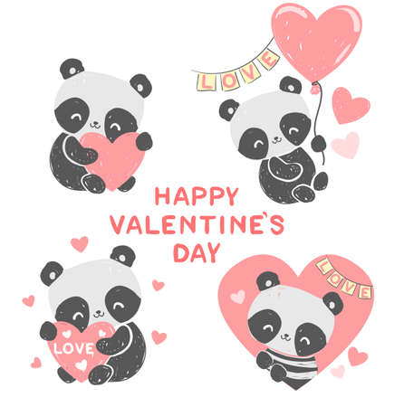 Hand drawn cute panda with a heart. Vector valentines day card children print on t-shirt.