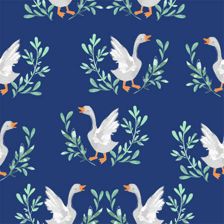 Seamless pattern hand drawn cute goose vector illustration bird