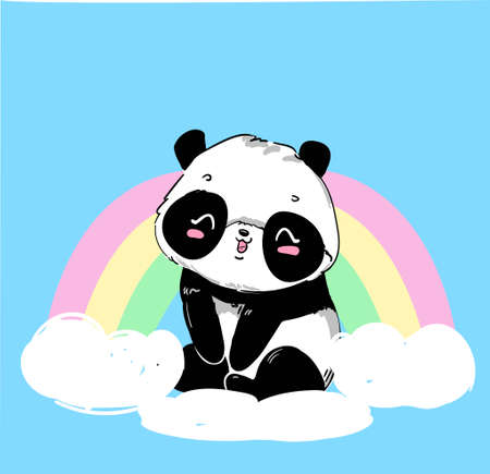 Cute Panda Bear, vector illustration. hand drawn panda with rainbow. Design print for t-shirt. Vetores