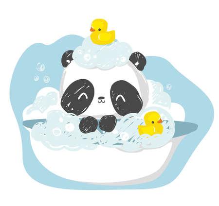 take a bath panda bear Hand drawn cute rubber yellow duck vector illustration childhood