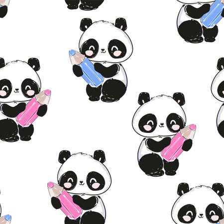 Seamless Cute panda bear holding a pencil print design background Pattern. Vector Design Textile for Kids