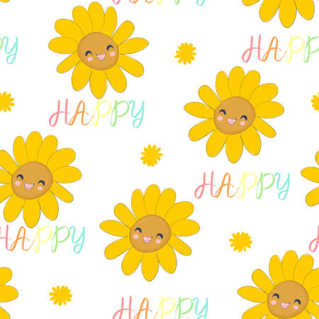 Happy Sunflower and the phrase happy Hand sketched seamless pattern cute flowers vector illustration print design for textiles, poster, clothing and fabric