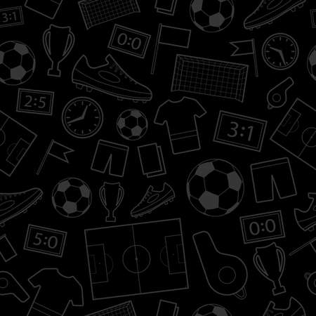 Seamless pattern of football symbols, gray on black Иллюстрация