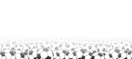Background of soccer balls, located at the bottom, black on white