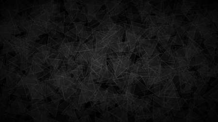 Abstract dark background of translucent triangles with light outlines. Black shaded backdrop with randomly distributed geometric shapes. Stock Illustratie