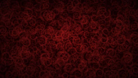 Abstract dark background of translucent spirals with light outlines. Red shaded backdrop with randomly distributed geometric shapes. Vectores