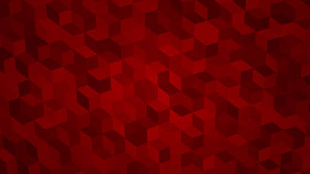 Abstract background of isometric cubes in red colors.