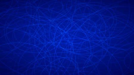 Abstrait de contours disposés au hasard d'élipses dans des couleurs bleues