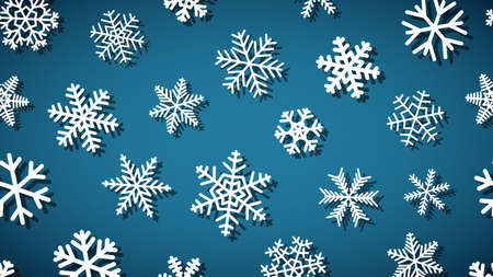 Christmas background of snowflakes of different shapes and sizes with shadows. White on light blue.