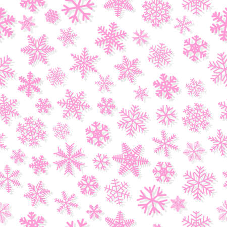 Christmas seamless pattern of snowflakes, pink on white background