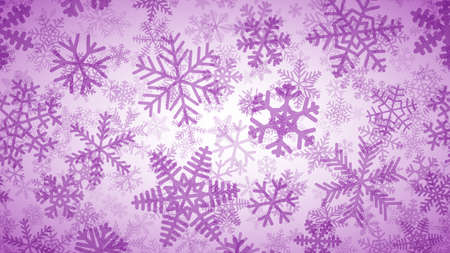 Christmas background of many layers of snowflakes of different shapes, sizes and transparency. Purple on white