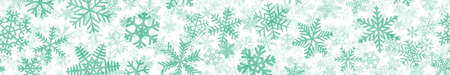 Christmas horizontal seamless banner of many layers of snowflakes of different shapes, sizes and transparency. Turquoise on white Illustration