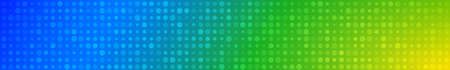 Abstract horizontal banner or background of small circles or pixels of different sizes in light blue and green colors.