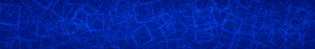 Abstract horizontal banner of randomly arranged contours of squares on blue background