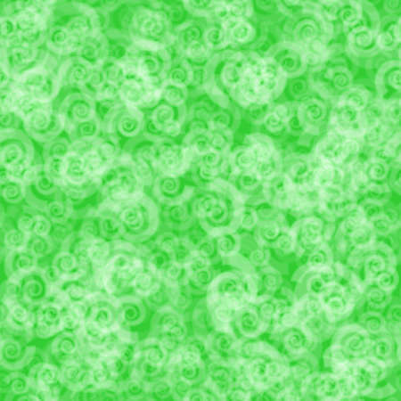 Abstract seamless pattern of randomly distributed translucent spirals in green colors Illustration