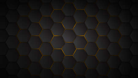 Abstract background of black hexagon tiles with yellow gaps between them Ilustracje wektorowe