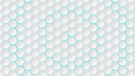 Abstract background of white hexagon tiles with light blue gaps between them