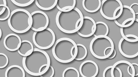 Abstract illustration of randomly arranged white rings with soft shadows on gray background