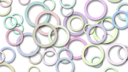 Abstract illustration of randomly arranged colored rings with soft shadows on white background