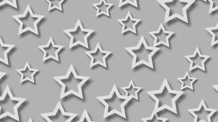 Abstract illustration of randomly arranged white stars with soft shadows on gray  background