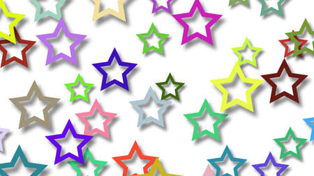 Abstract illustration of randomly arranged colored stars with soft shadows on white background