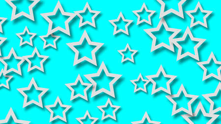 Abstract illustration of randomly arranged white stars with soft shadows on light blue background