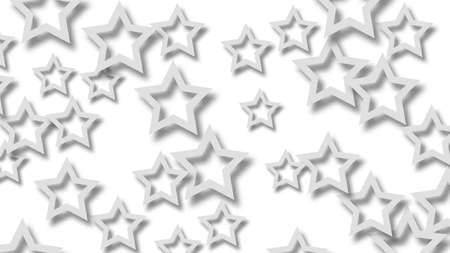 Abstract illustration of randomly arranged gray stars with soft shadows on white background Illustration
